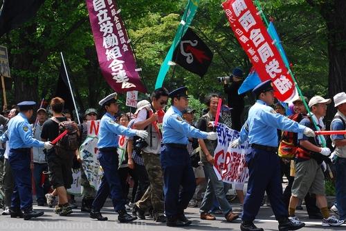 a leftist/union protest march
